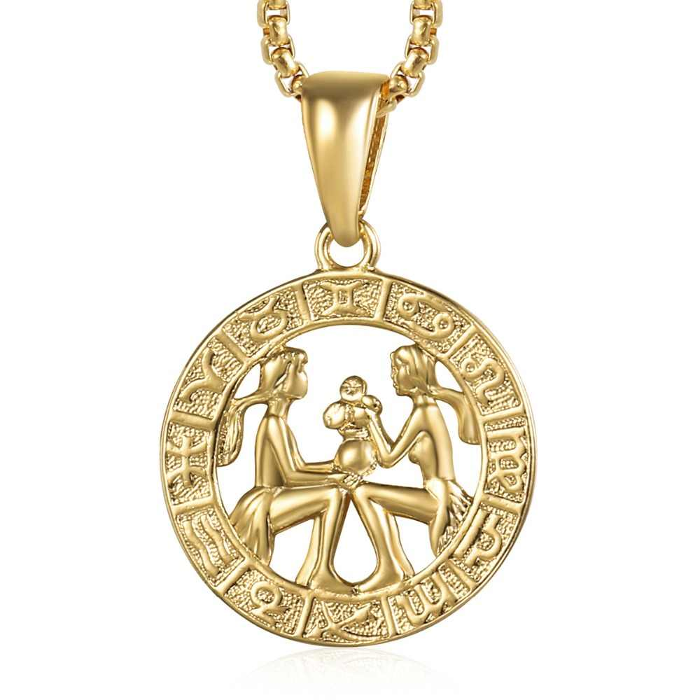 Detail Feedback Questions About Gemini Zodiac Sign Necklace For Women Men Yellow Gold Pendant Male Woman Jewelry Hot Personal Birthday Gifts GP359