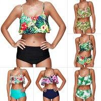 High Waist Swimsuit Women Push Up Bikini 2017 Ruffle Plus Size Swimwear Female Padded Bikini Set