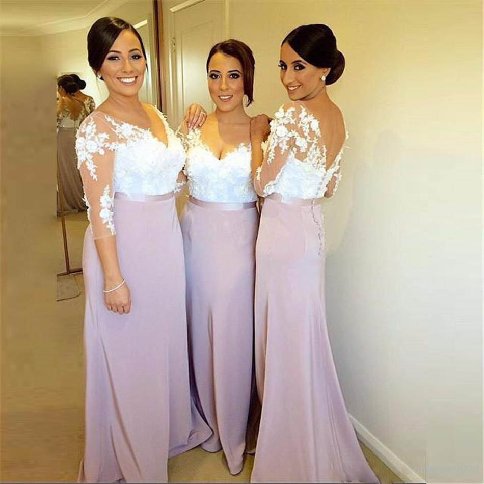 Blush Bridesmaid Dresses Long With Sleeves