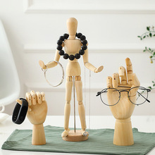 VILEAD 8 Size Wood Hand Wooden Man Figurines Rotatable Joint Model Mannequin Artist Miniatures Decoration Home Decor