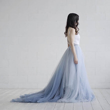 Fairy Long Train Wedding Skirt Vintage Soft Tulle Bridal Skirt Dusty Blue Floor Length Maxi Tutu Skirt Wedding Party Gowns