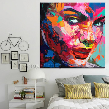 Palette knife painting portrait Palette knife Face Oil painting Impasto figure on canvas Hand painted Francoise Nielly 15-18