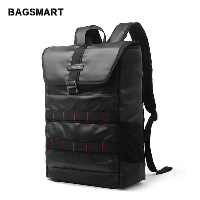 BAGSMART New PU Leather Laptop Backpack 15.6 Inch Laptop Bag Fashion Travel Rucksack Waterproof Oxford School Backpacks Black