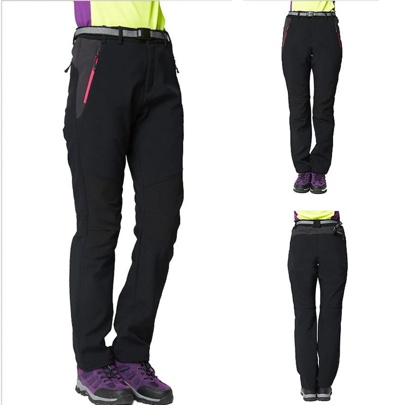 f2a3d91b37d SHIFUREN Winter Women Camping Hiking Pants Thermal Inner Fleece Softshell  Outdoor Ski Climbing Trekking Trousers Plus Size M 3XL-in Hiking Pants from  Sports ...