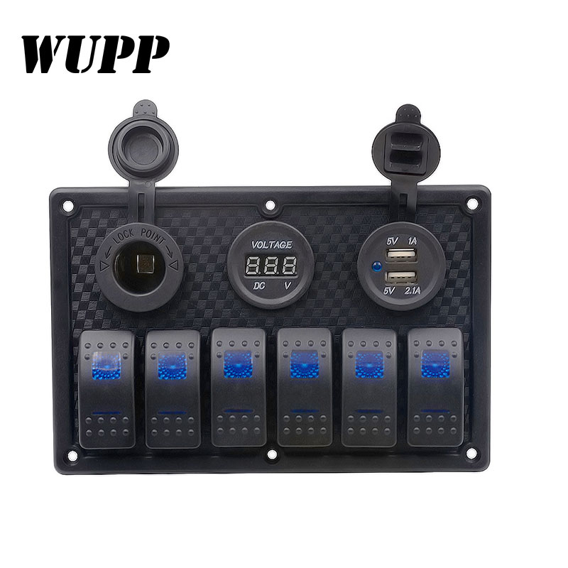WUPP 6 Gang 12V 24V LED Rocker Switch Panel Circuit Breaker Charger Dual USB Socket Cigaretter Plug Voltmeter Car Auto Switches