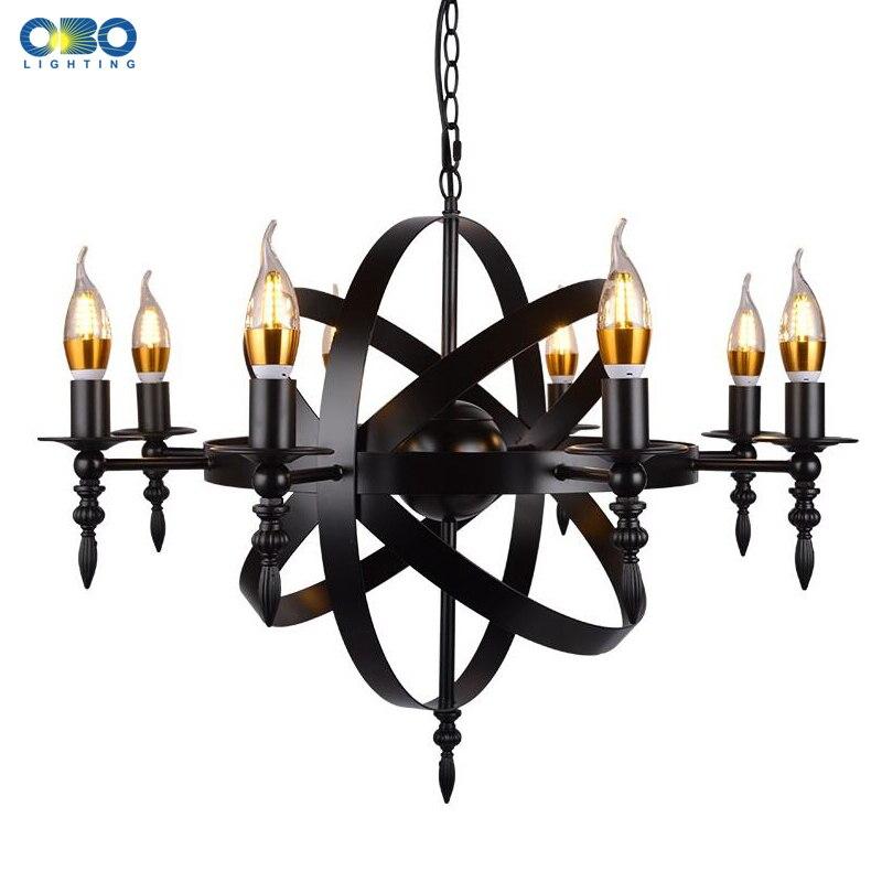 Vintage noir bougie lumière fer pendentif lampe salle à manger centre commercial éclairage Crod suspension lumière 1.2 M E27 110-240 V livraison gratuite