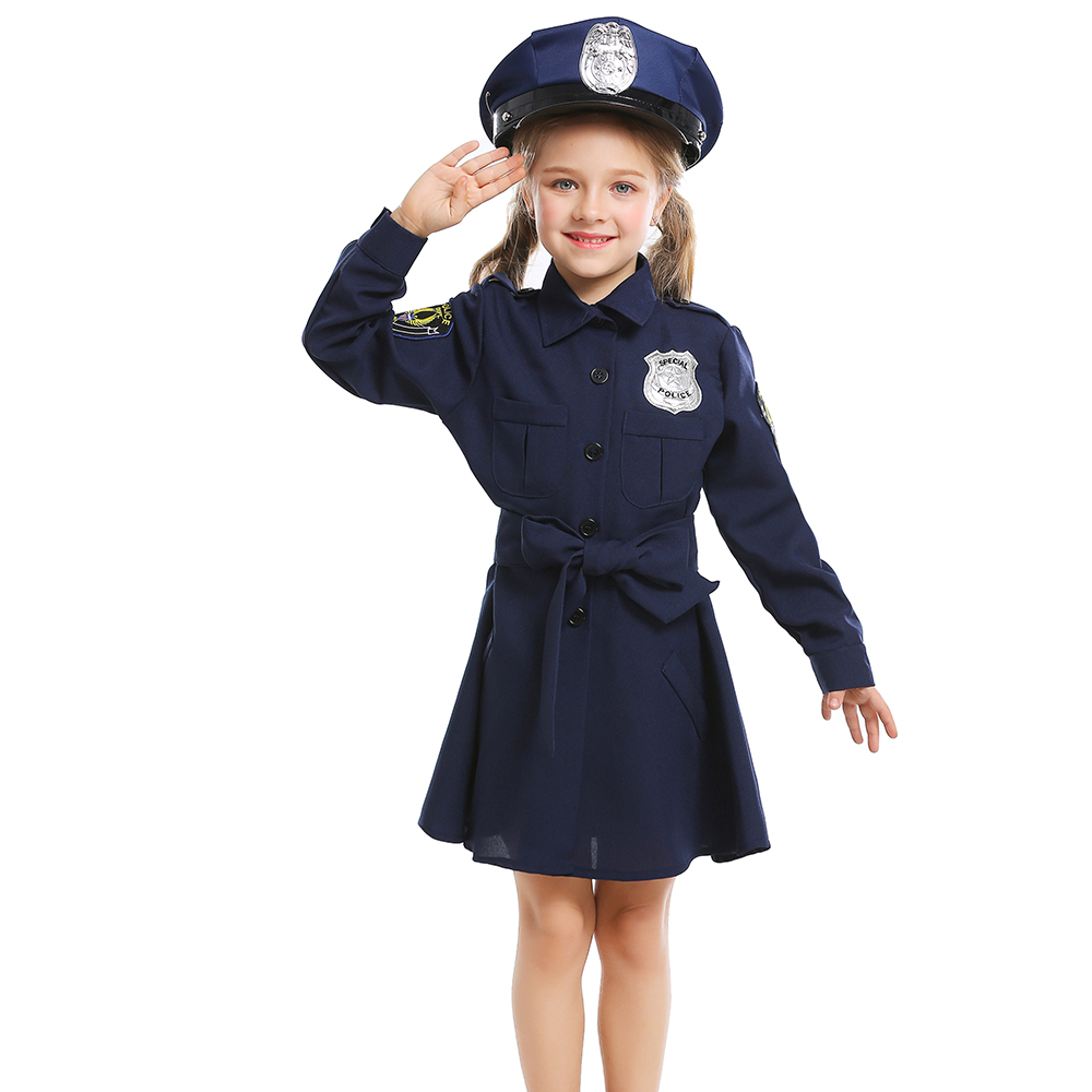 Kids Girls Cute Police Uniform Cosplay Costumes Funny Children's day Halloween Cosplay Fancy Party Dress Suit