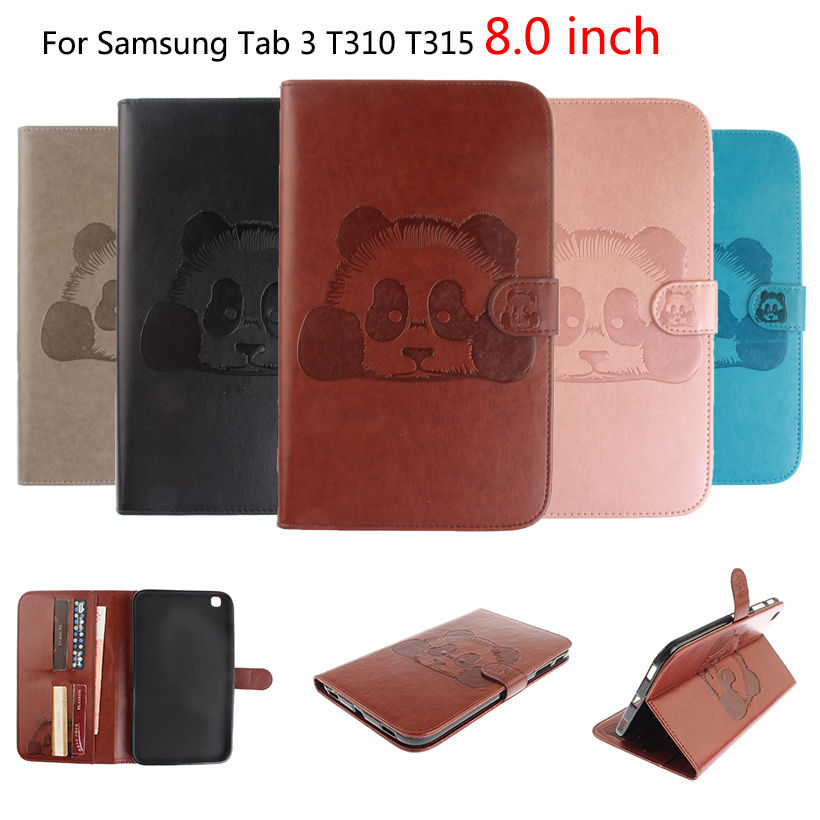 Tablet Case For Samsung Galaxy Tab 3 8.0 inch SM-T310 T311 T315 Cover Magnetic Panda Pattern PU Leather Folio Case Funda pu leather case cover for samsung galaxy tab 3 10 1 p5200 p5210 p5220 tablet