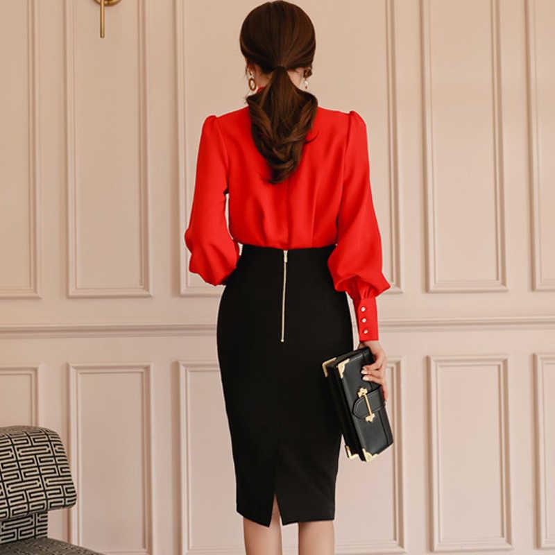 H Han Ratu Wanita 2019 Musim Semi OL 2-Piece Pakaian Elegan Vintage Renda Kemeja Top + Seksi Tinggi pensil Pinggang Bodycon Rok Kerja Set