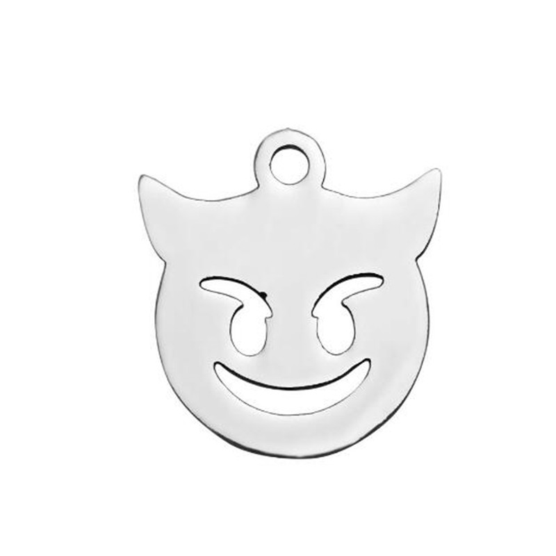 12mm Stainless Steel Necklaces Pendants Women Lovely Expression Pendant For Stainless Steel Link Chain Necklace Statement Jewelr