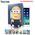 Minions Character TPU Cover Case For Funda iPad Mini 3 2 1Tablet Stand Coque Cover Capa Case for iPad Mini123 Cover Case