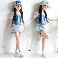 2PCS Set New Cute Baby Girls Clothes 2018 Summer Costume Toddler Kids Lace Denim Tops Shorts