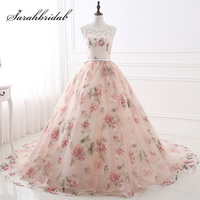 Hot Sale Pink Floral Print Ball Gown Evening Dresses With Lace Appliques 2018 Cheap Women Formal
