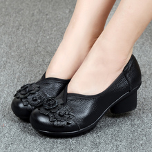 Work Shoes Female Crude Heel Genuine Leather Small Size High Heels Tacones Mujer Obuv Women Shoes Pump Big Size 41 42 цены онлайн