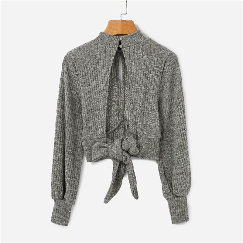 9e5687e5d SHEIN Grey Highstreet Open Back Knot Detail Crop Marled Knit Long Sleeve  Solid Jumper 2018 Autumn Casual Women Pullovers Sweater