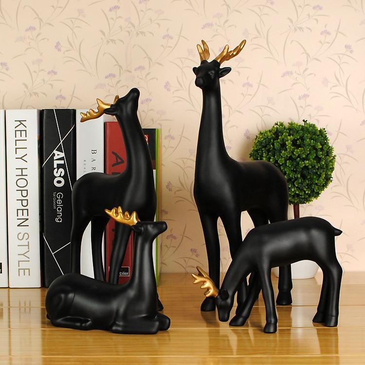 Eenvoudige moderne art decoratie decoraties Woninginrichting herten zwarte hars hars ambachten