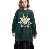 2017 Women Velvet Hoodies Autumn Deer Embroidery Sweatshirts Casual Long Sleeve Pullover Loose Female Winter Thick