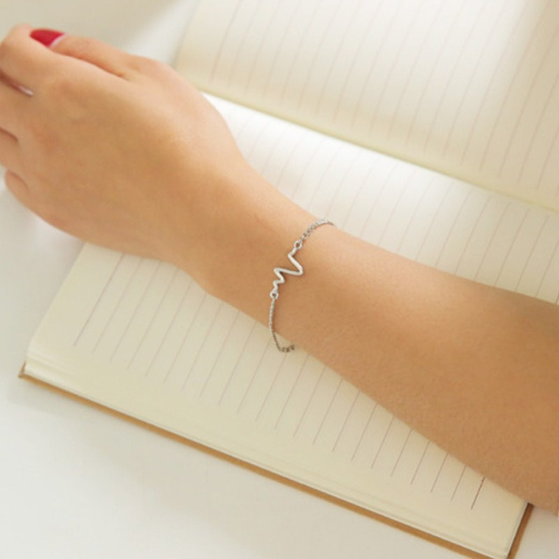 New-Listing-Fashion-Simple-personality-design-ECG-Figure-lightning-bracelet-couple-heart-beat-frequency-bracelet-1pcs (2)