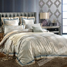 2018 New 100% Cotton Luxury Bedding Set Satin Jacquard Four Bed Set Floral Duvet cover Full/Queen/King size Bedspread Bed linen