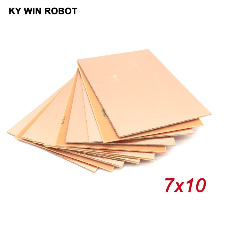 цена на 10pcs FR4 PCB Single Side Copper Clad plate DIY PCB Kit Laminate Circuit Board 7x10cm