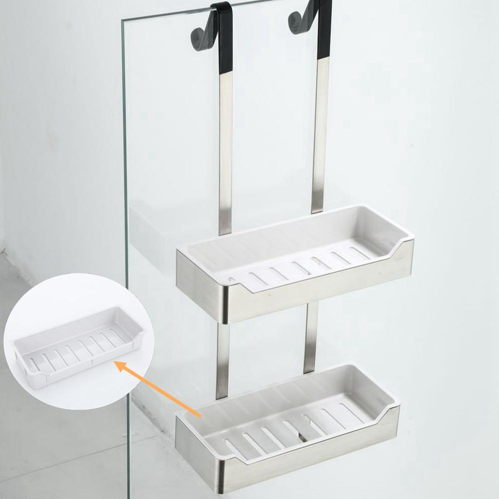 Image 4 - Bathroom Shower Shelves 2 Layer Shampoo Holder Bath Storage Towel Hanging Bathroom Stainless Steel Polished ELM330-in Bathroom Shelves from Home Improvement