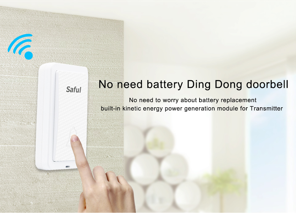 US $15 78 19% OFF Saful Waterproof Wireless Doorbell Self powered  EU/US/AU/UK 28 Rings Long Distance White No Battery with 1 Button+1  Receiver-in