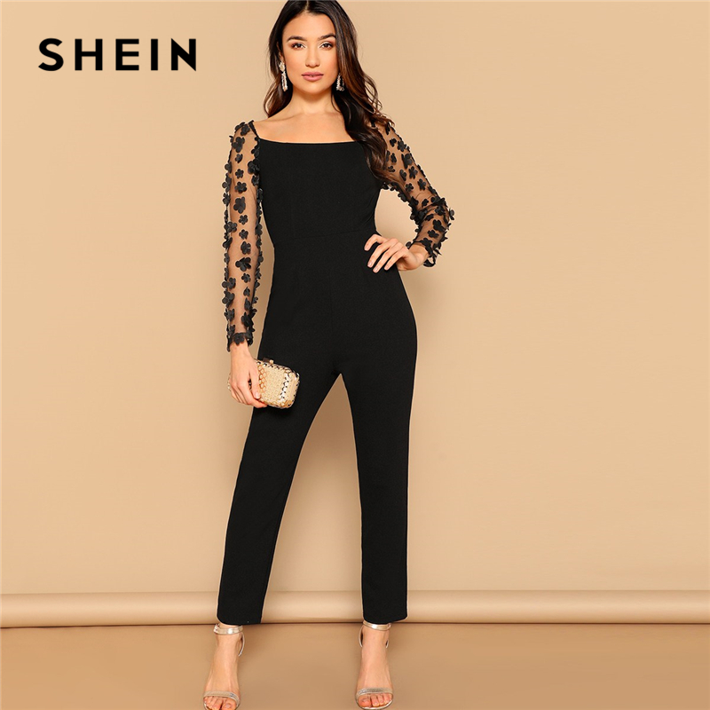 SHEIN Black Sexy Mesh Flower Appliques Sleeve Square Neck Jumpsuit Women Mid Waist Skinny Spring High Street Solid Jumpsuits 1