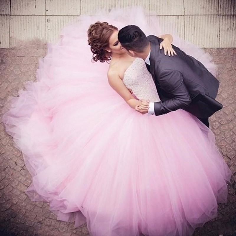 2019 Comfortable Tulle Strapless Crystals Ball Gown Back Corset Quinceanera Dress Pink Sweet 15 Dresses Vestidos