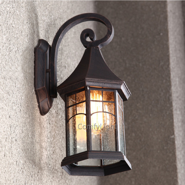vintage glass outdoor wall lamp led villa sconce lamp designer royal house garden patio courtyard porch waterproof wall lighting