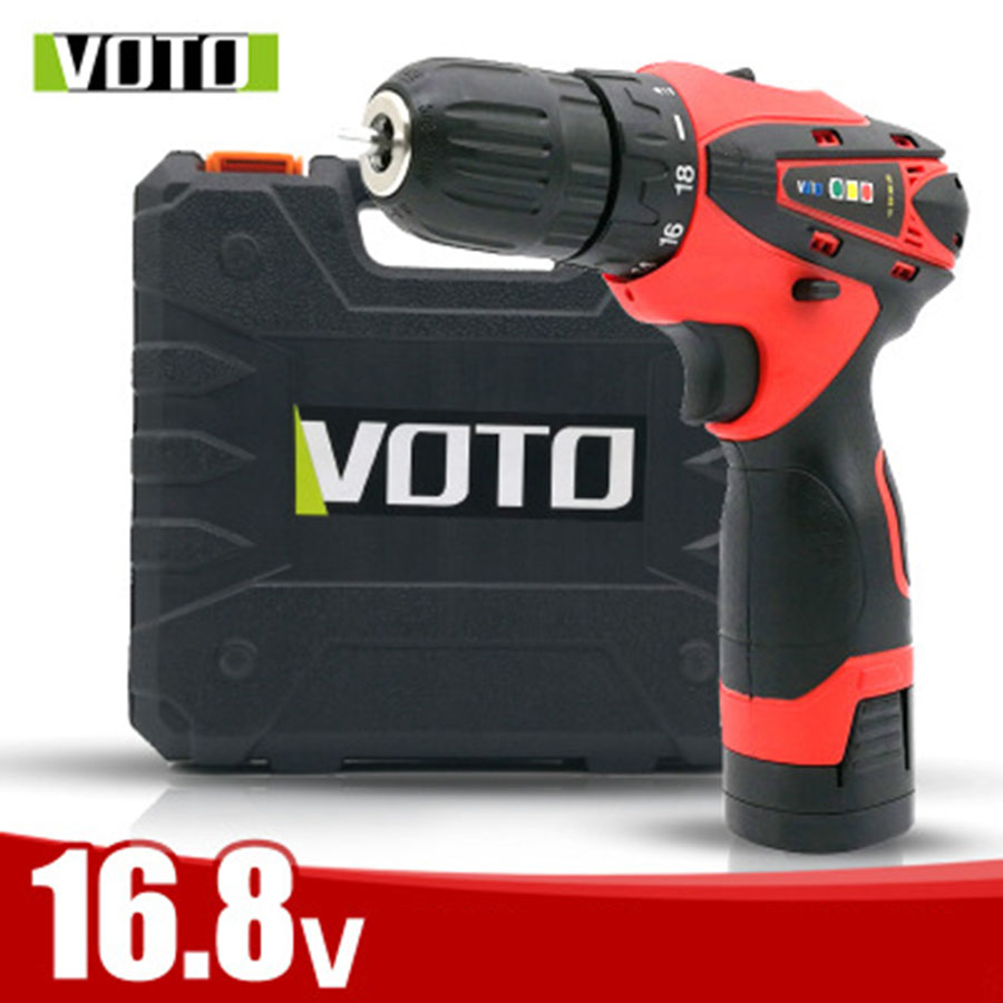 VOTO Rechargeable 2*Battery Cordless Drill Electric Screwdriver Set Lithium Power Tools Screw Gun Driver 16.8V With Case RED protective pc case with 5400mah rechargeable lithium battery