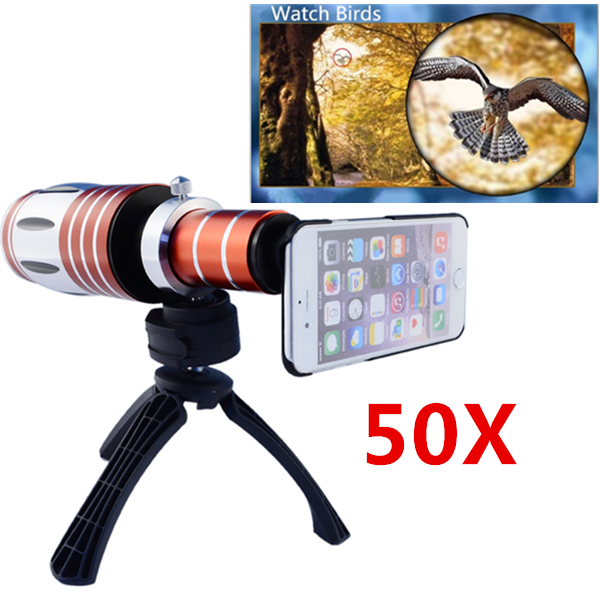Telescopic 50x Zoom Optical Mobile Phone Camera Lenses Telephoto Lens Kit with Tripod Case for iPhone 6 Telescope Lens CL-48