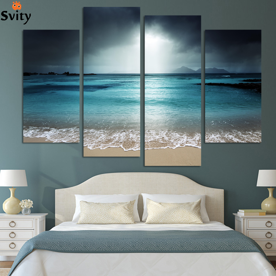 ④Framed 4 Panel Modern Wall Art Home Decoration Painting Canvas ...