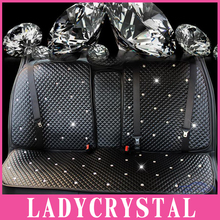 Ladycrystal Custom Leather Car Seat Covers Crystal Rhinestone Auto Seat Cover Car Styling For Girls Women Interior Accessories