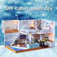 1 Pcs Dollhouse DIY House Model Assemble Toy DIY Cabin Assembly Home Birthday Gift Wooden for Children Kids FJ88