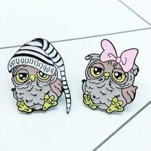 Novo broche de coruja para casal, broche de coruja com animais fofos de desenhos animados, presente de joias pingente de roupa,