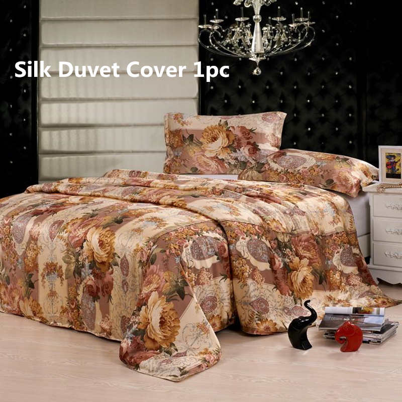 Silk Duvet Cover 1pc 100 Mulberry Silk Multicolor Printed Floral Silk Many size ls170903