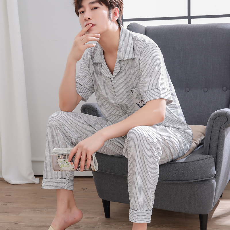 Mens Pyjamas Summer Short Sleeve Cotton Sleepwear Trousers Mens Sleep Lounge Pajama Set Striped