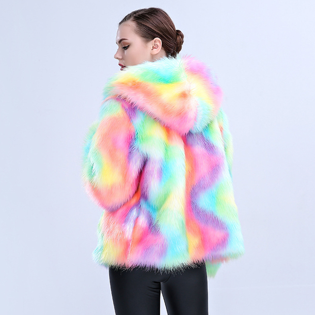 Colorful Artificial Fur Coat with Hooded 3