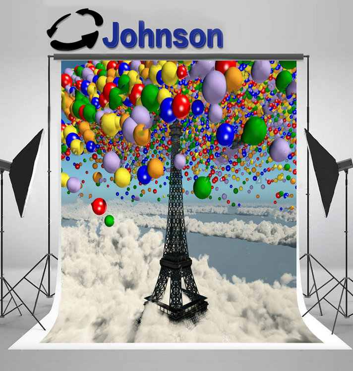 eiffel tower colorful balloons paris clouds background Vinyl cloth High quality Computer print party photo backdrop