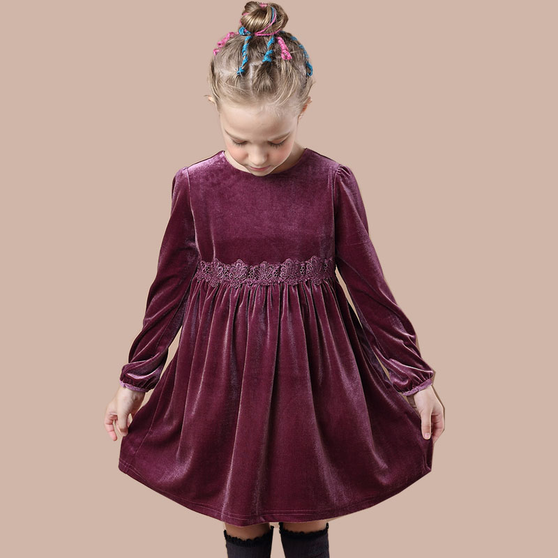 Girls Long Sleeve Dress Autumn Winter Princess Velvet Christmas Dress with Lace 2017 Brand Children Dresses for Girls Clothes acthink 2017 new girls formal solid lace dress shirt brand princess style long sleeve t shirts for girls children clothing mc029