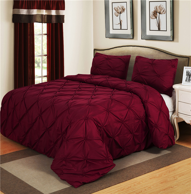 Luxurious Bedding Sets Vine Red Home Textile Pinch Pleat 2 3pcs Twin Queen Double Size Bedclothes Duvet Cover Set