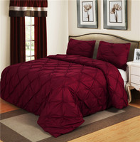 Luxurious Bedding Sets Vine Red Home Textile Pinch Pleat 2/3pcs Twin/Queen/Double Size Bedclothes Duvet Cover Set