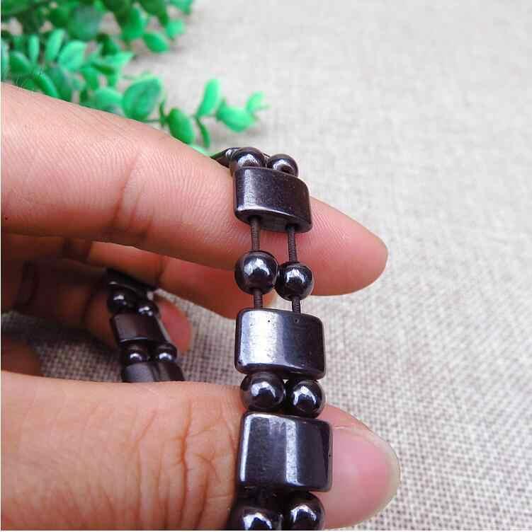 Потеря веса круглый черный камень браслет для магнитотерапии для женщин мужчин здоровье и гигиена Магнитный гематит эластичные браслеты B3008