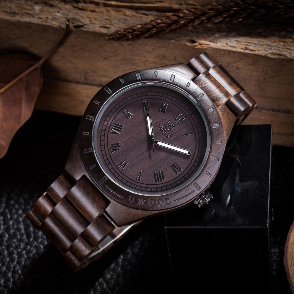 2018 New Festival Memorial Day Gift Enmex Natural Stripe Wooden Wristwatch Man Brand Work of art handmade Vintage wood watches
