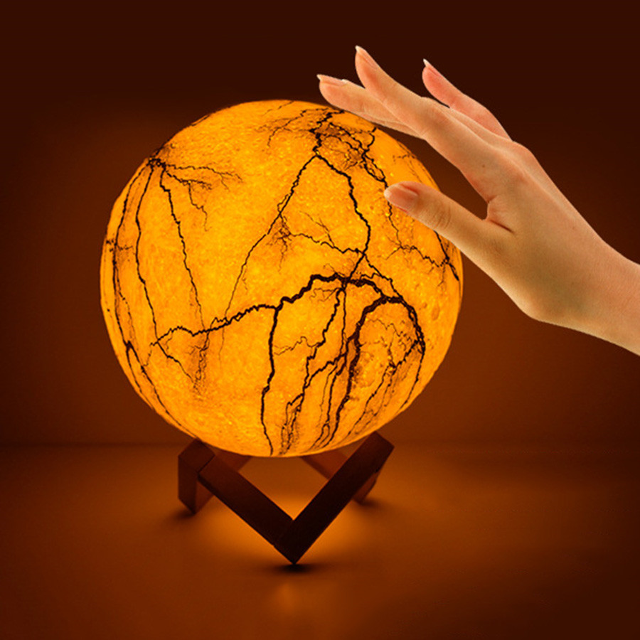 BEIAIDI Creative Crack Design 3D Print Star Moon Table Lamp USB Rechargeable Touch Sensor LED Night Light Bedside Moon Lamp Gift