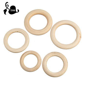 5pcs 40mm/45mm/50mm/55 Wooden Baby Teething Rings Infant Teether Toy DIY Accessories For 3-12 Month Infants Tooth Care Products 1