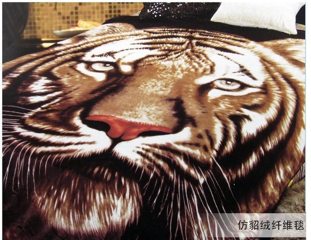 Tiger print minky blanket bedding throw king queen size blankets for beds  comforters train quilt cover bed sheet thick 2 layer-in Blankets from Home  &