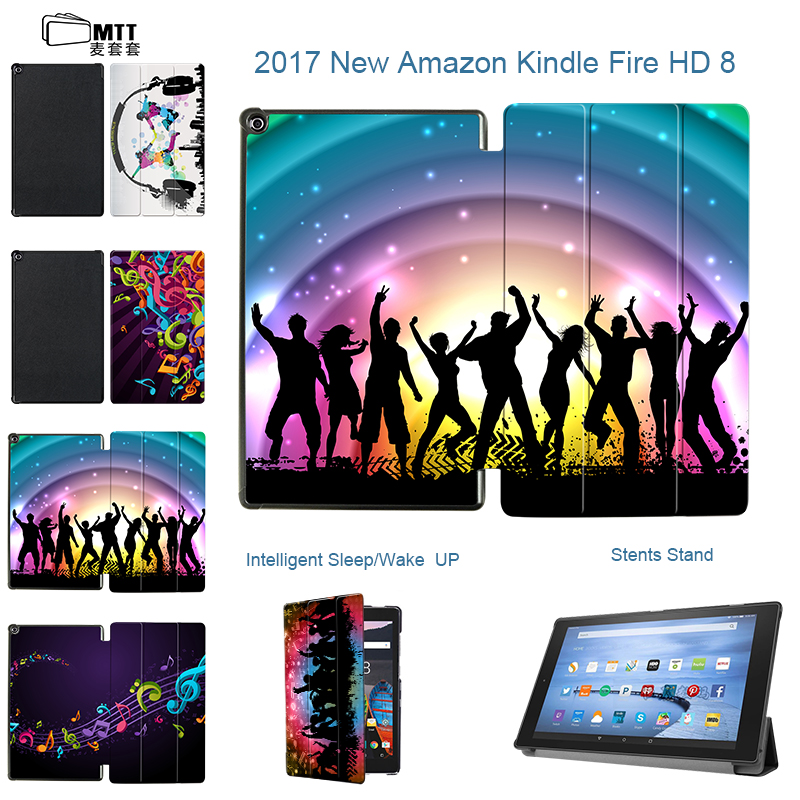 MTT Print For New Kindle Fire HD 8 2017 Release 7th Generation PU Leather Sleep Cover Stand Case For Amazon Fire HD 8'' Case ocube 50pcs lot tri foldings print painting stand pu leather case cover for amazon kindle fire hd 7 2017 7tablet