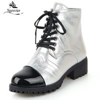 Sgesvier White Gold Silver Lace Up Gothic Combat Boots for Women Block Heel Shoes Glitter Bling Ladies Ankle Motorcycle Boots