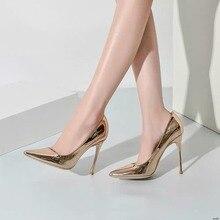 96f8dc54f8291 النساء أحذية 2019 عالية الكعب مضخات الذهبي براءات أحذية جلدية مثير وأشار  اصبع القدم خنجر الأزياء